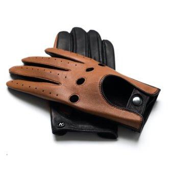 napoDRIVE (braun/hellbraun) - Herren-Autohandschuhe ohne Fütterung mit Touchscreen-Technologie