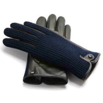napoWOOL (schwarz/dunkelblau) - Herren-Winterhandschuhe mit Fütterung und Touchscreen-Technologie