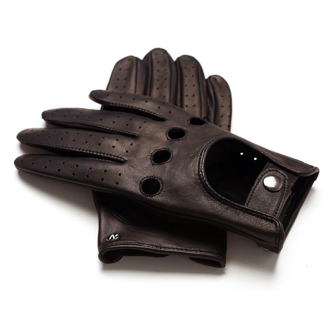napoDRIVE (braun) - Herren-Autohandschuhe ohne Fütterung mit Touchscreen-Technologie