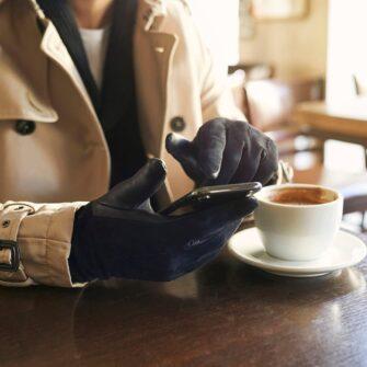 Blaue Handschuhe für Herren