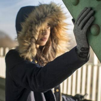 Graue Handschuhe für Damen