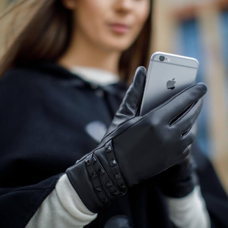 Handschuhe mit Nieten für Damen