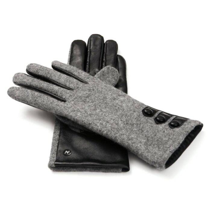 napoFELT (schwarz/grau) - Damen-Winterhandschuhe mit Fütterung und Touchscreen-Technologie