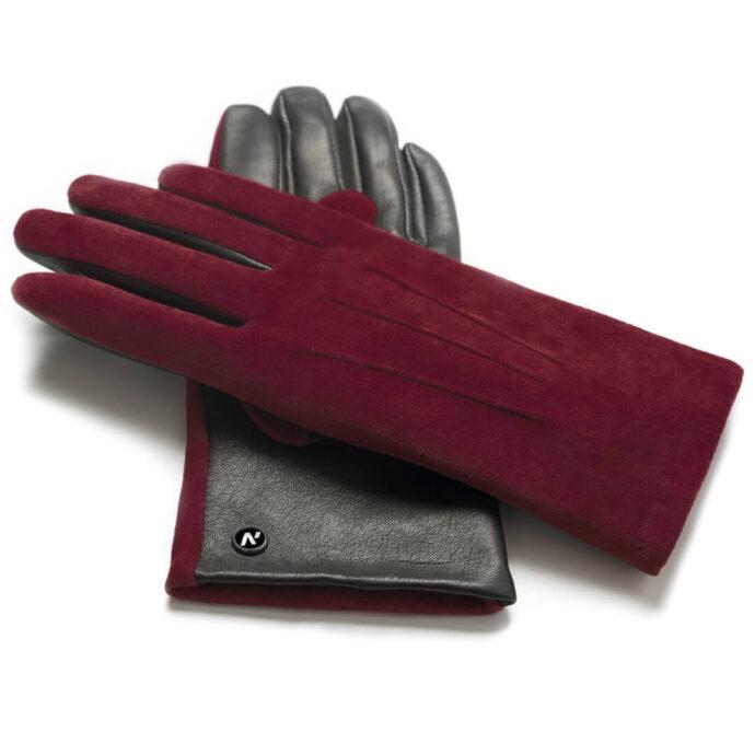 napoROSE (schwarz/dunkelrot) - Damen-Winterhandschuhe mit Fütterung und Touchscreen-Technologie