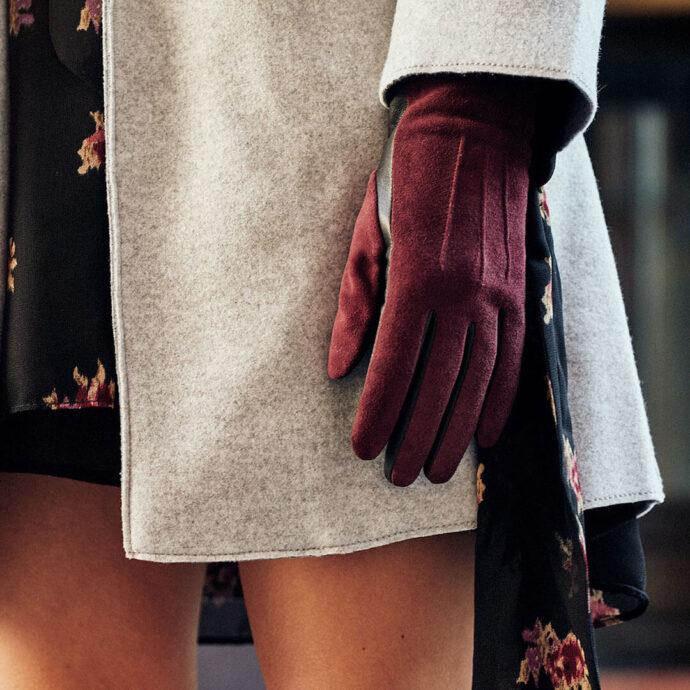 Damenhandschuhe dunkelrot