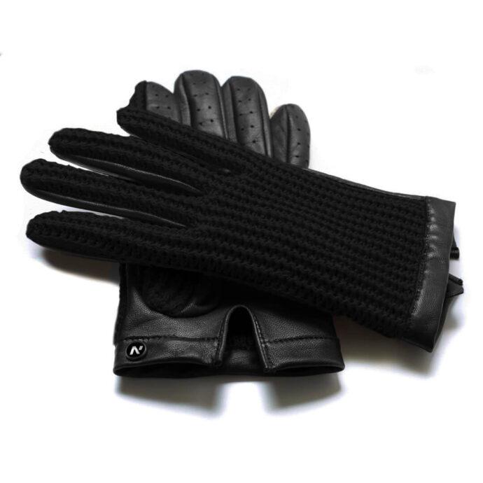 napoCROCHET (schwarz) - Herren-Autohandschuhe ohne Fütterung mit Touchscreen-Technologie
