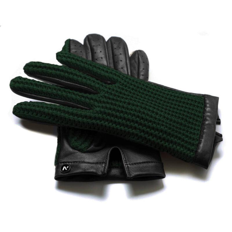 napoCROCHET (schwarz/grün) - Herren-Autohandschuhe ohne Fütterung mit Touchscreen-Technologie