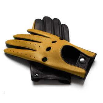 napoDRIVE (braun/gelb) - Herren-Winterhandschuhe mit Fütterung und Touchscreen-Technologie