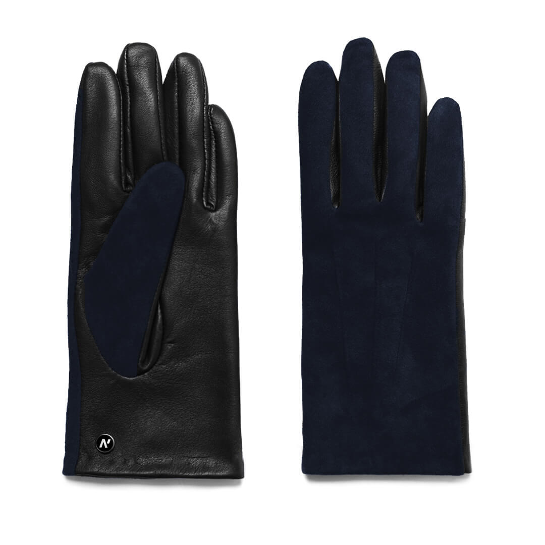 napoROSE (schwarz/dunkelblau) - Damen-Winterhandschuhe mit Fütterung und Touchscreen-Technologie
