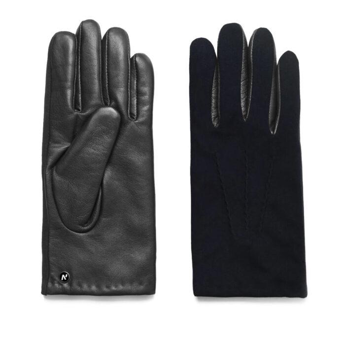 napoSUEDE (schwarz/dunkelblau) - Herren-Winterhandschuhe mit Kaschmir-Fütterung und Touchscreen-Technologie