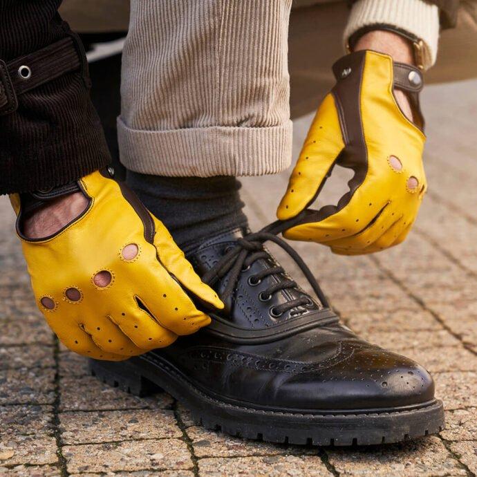 Gelbe Autohandschuhe für Herren
