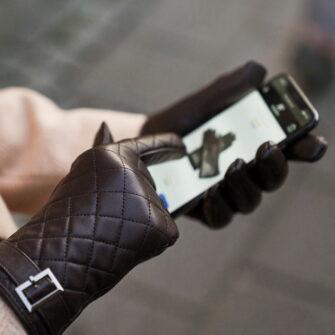 Braune Touchscreen Handschuhe für Damen