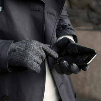Graue Touchscreen Handschuhe für Herren