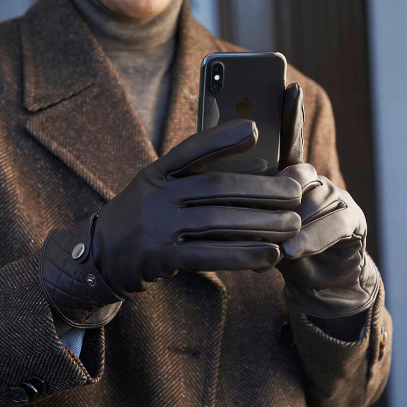 Braune Touchscreen Handschuhe für Herren