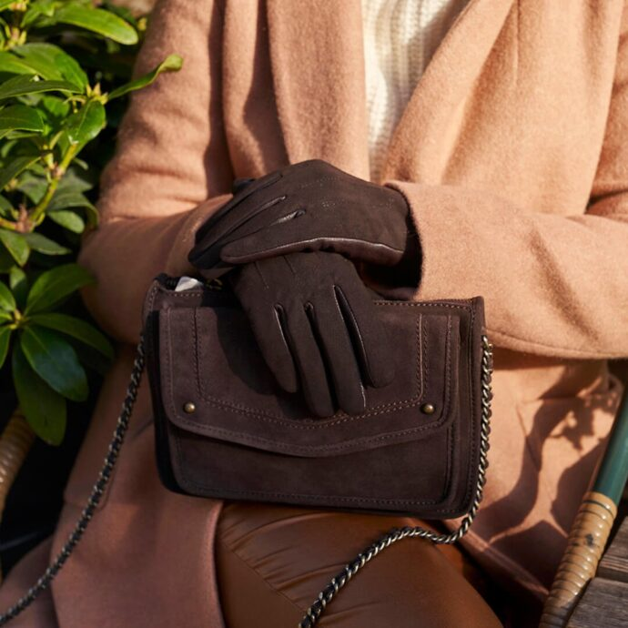 Braune Handschuhe für Damen