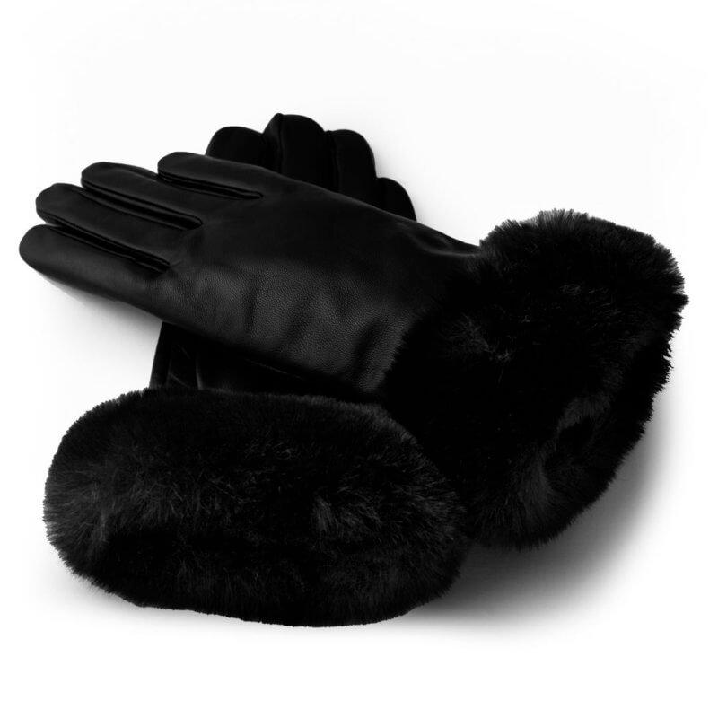 Schwarze Handschuhe mit Futter für Frauen