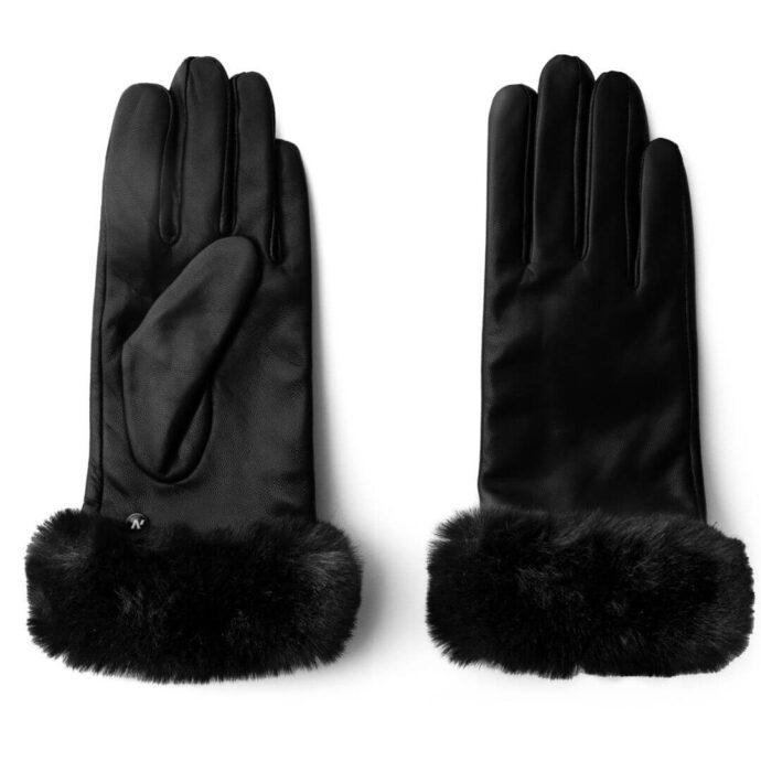 Schwarze Handschuhe mit Futter für Damen